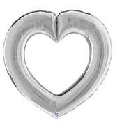 "41"" Linking Heart Silver Foil Balloon"