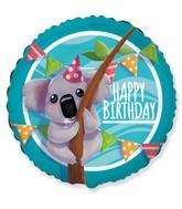"""18"""" Happy Birthday Koala Foil Balloon"""