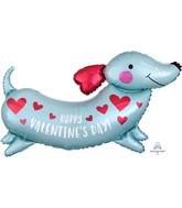 """37"""" SuperShape Happy Valentine's Day Weiner Dog Foil Balloon"""
