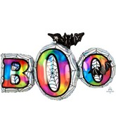 """35"""" Holographic SuperShape Iridescent Boo Foil Balloon"""