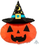 """28"""" SuperShape Witchy Pumpkin Foil Balloon"""