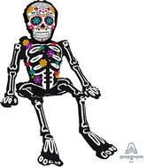 """26"""" Airfill Only Multi-Balloon Consumer Inflatable Sitting Day of the Dead Skeleton Foil Balloon"""