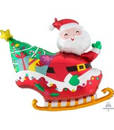 "30"" SuperShape Santa's Sleigh Foil Balloon"