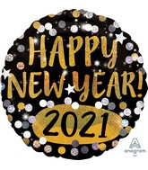 """18"""" Happy New Years 2021 Gold & Silver Sparkles Foil Balloon"""