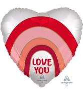 """18"""" Satin Love You Rainbow Foil Balloon"""