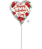 """4"""" Airfill Only Satin Infused Happy Valentine's Day Roses Foil Balloon"""