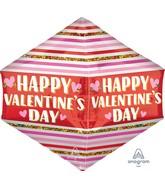 """21"""" UltraShape Anglez Happy Valentine's Day Stripes & Glitter Foil Balloon"""