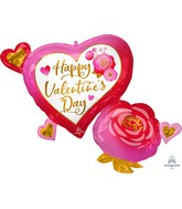 """32"""" SuperShape Happy Valentine's Day Heart & Rose Foil Balloon"""
