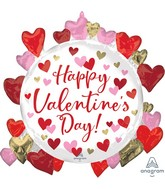"""26"""" SuperShape Happy Valentine's Day Circled in Hearts Foil Balloon"""
