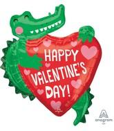 "27"" SuperShape Happy Valentine's Day Gator Foil Balloon"