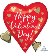 """22"""" SuperShape Happy Valentine's Day Floating Gold Hearts Foil Balloon"""