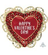 "23"" SuperShape Intricates Happy Valentine's Day Animal Print Foil Balloon"