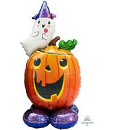 Airfill Only Airloonz Consumer Inflatable Pumpkin Ghost Foil Balloon