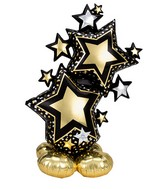 "59"" Airfill Only Airloonz Consumer Inflatable Star Cluster Black & Gold Foil Balloon"