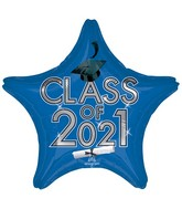 """18"""" Class of 2021 - Blue Foil Balloon"""