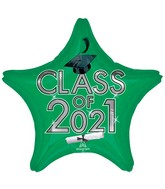 """18"""" Class of 2021 - Green Foil Balloon"""