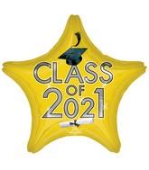 "18"" Class of 2021 - Yellow Foil Balloon"