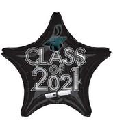 "18"" Class of 2021 - Black Foil Balloon"