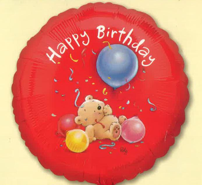 "18"" Happy Birthday Roly Bear Foil Balloon"