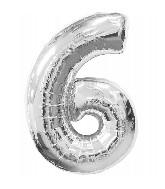 """34"""" Jumbo #6 Silver Foil Balloon"""