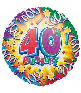 "18"" Prismatic 40th Birthday Foil Balloon"