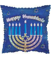 """17"""" Glittered Menorah Happy Hanukkah Foil Balloon"""