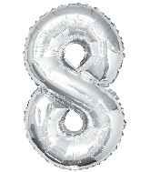 """34"""" Jumbo Silver #8 Foil Balloon"""