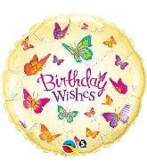 "18"" Birthday Wishes Butterflies Mylar Balloon"