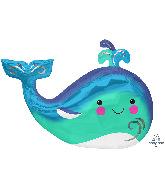 "34"" SuperShape Happy Whale Foil Balloon"