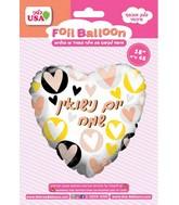 "18"" Happy Anniversary Hearts Foil Hebrew Balloon"