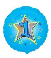 "18"" Standard Blue Stars #1 Foil Balloon"