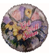 "18"" Get Well Soon Flowers Foil Balloon"