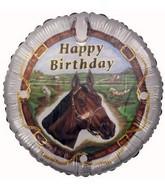 """18"""" Happy Birthday Horse (White Border) Foil Balloon"""