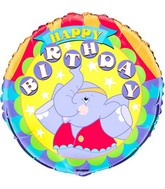 "18"" Happy Birthday Happy Elephant Foil Balloon"