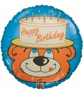 "18"" Happy Birthday Lion Cake Hat Foil Balloon"