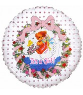 "18"" It's a Girl Flower Bear Foil Balloon"