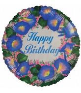"18"" Happy Birthday Blue Flowers & Leaves Foil Balloon"