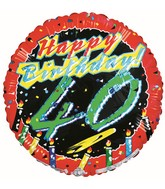 "18"" Happy 40th Birthday Foil Balloon"