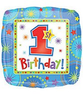 "18"" 1st Birthday Star Square Foil Balloon"