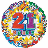 "18"" Prismatic 21st Birthday Foil Balloon"