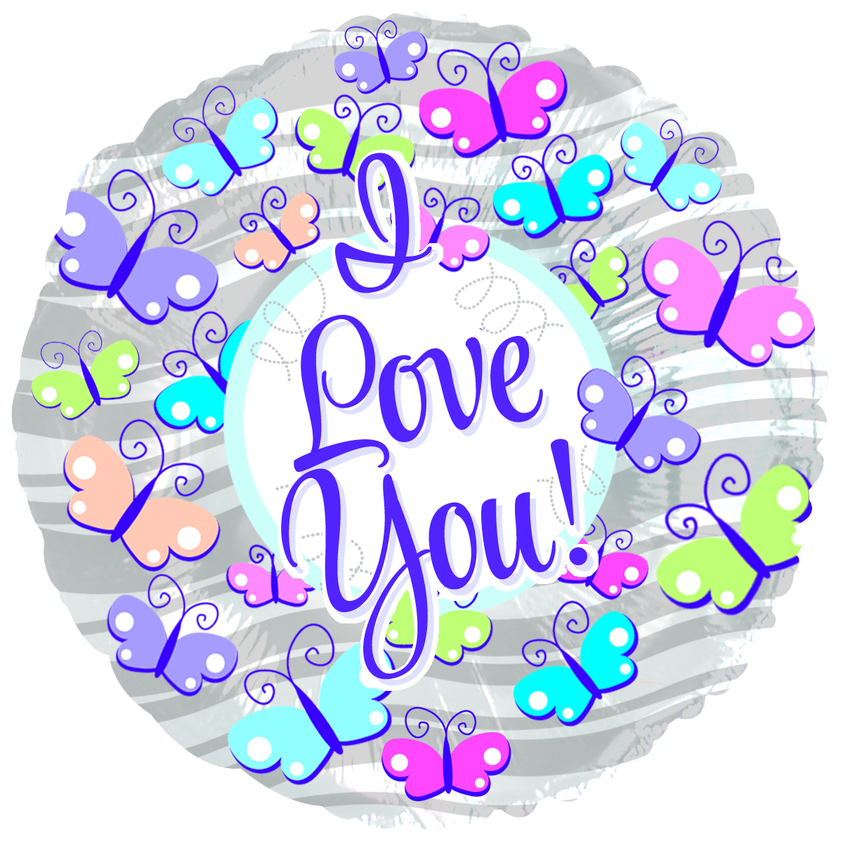 "9"" Airfill Only I Love You Butterflies Foil Balloon"
