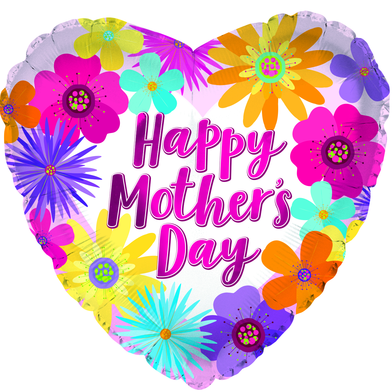 """9"""" Airfill Only Happy Mother Day Flowers Foil Balloon"""