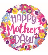 """17"""" Happy Mother's Day Fun Flowers Foil Balloon"""