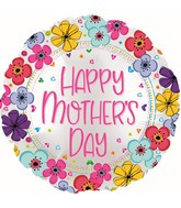 """17"""" Happy Mother's Day Floral Border Foil Balloons"""