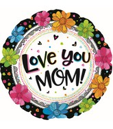 "17"" Love You Mom Boho Black Foil Balloons"