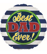 "17"" Best Dad Stripes Foil Balloons"