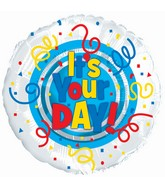 """9"""" Airfill Only It's Your Day! Primary Colors Foil Balloon"""