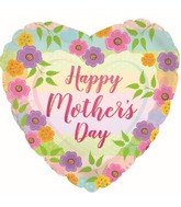 """17"""" Happy Mother's Day Floral Stripes Foil Balloons"""
