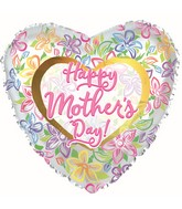 """17"""" Happy Mother's Day Graphic Floral Foil Balloons"""