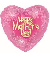 "17"" Happy Mother's Day Whiteline Flowers Foil Balloons"